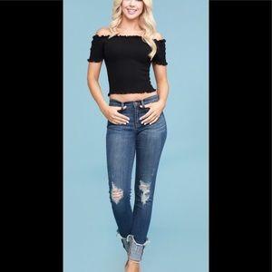 NWT Plus Skinny Distressed Cuff Jean